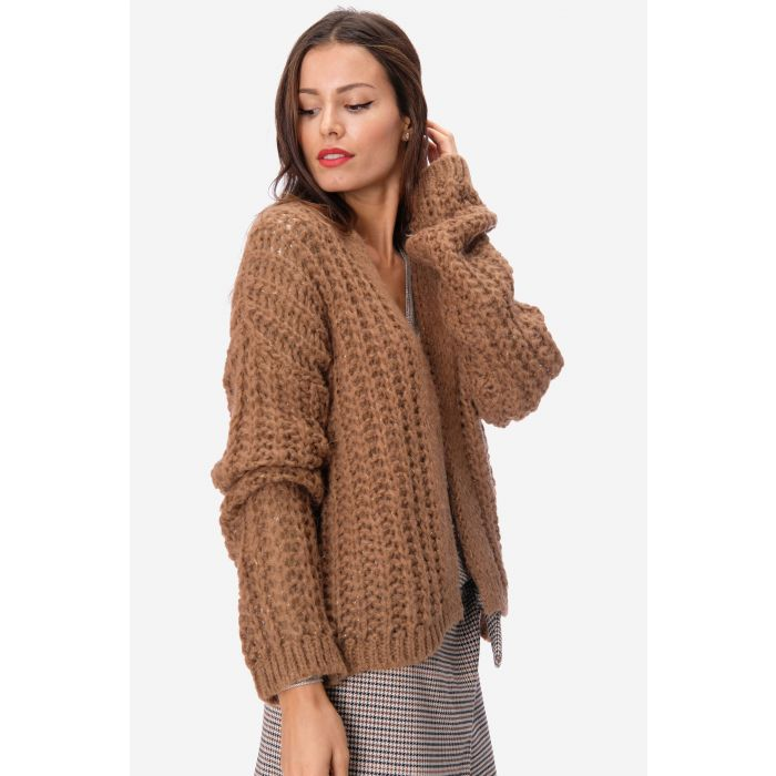 Cardigan intreccio largo