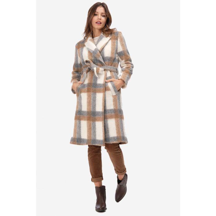 Cappotto misto lana a quadri