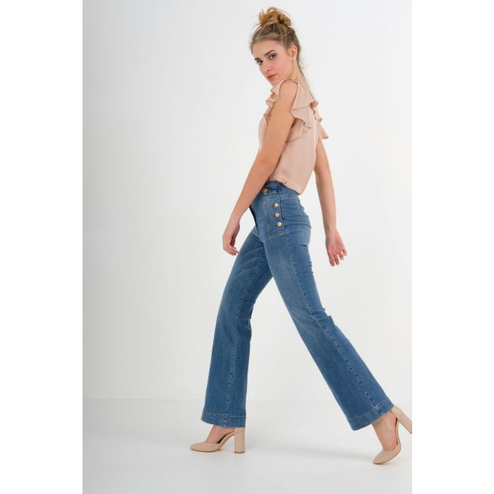 Jeans vita alta palazzo