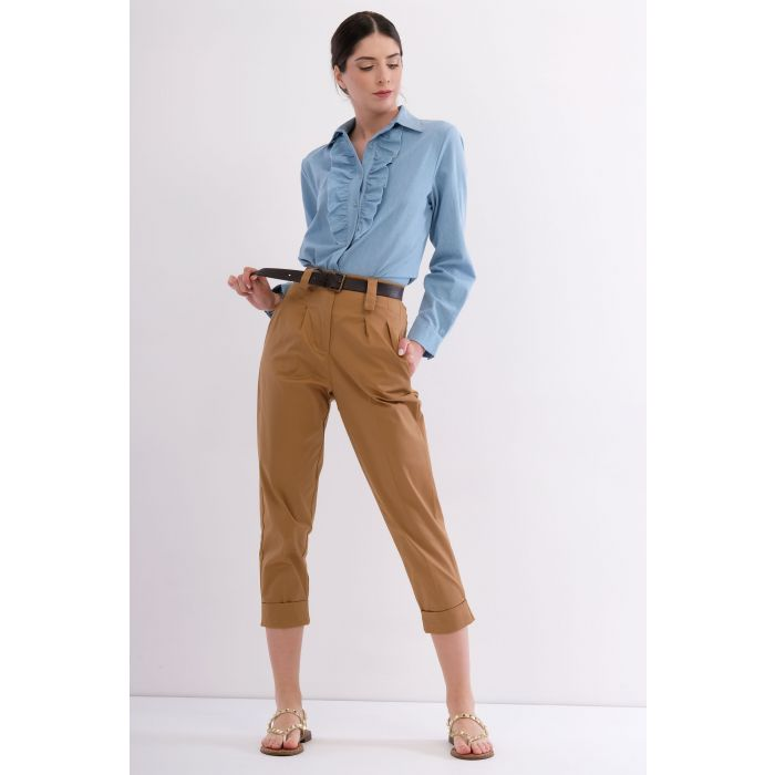 Pantalone cotone vita alta
