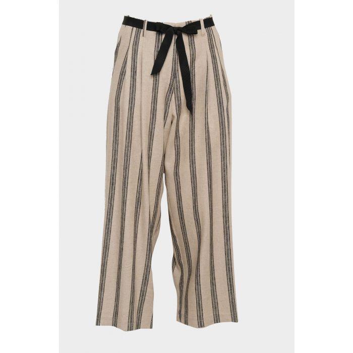 Pantalone misto lino righe