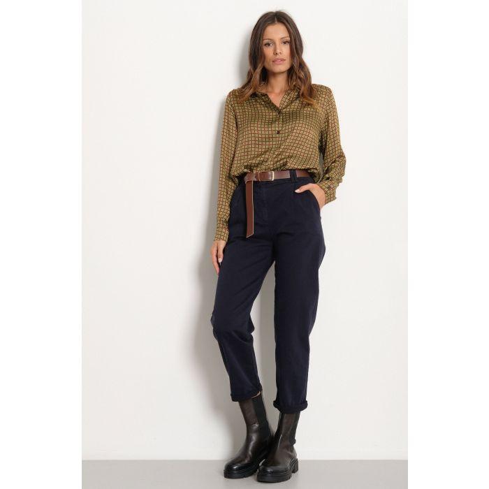 Pantalone vita alta in cotone