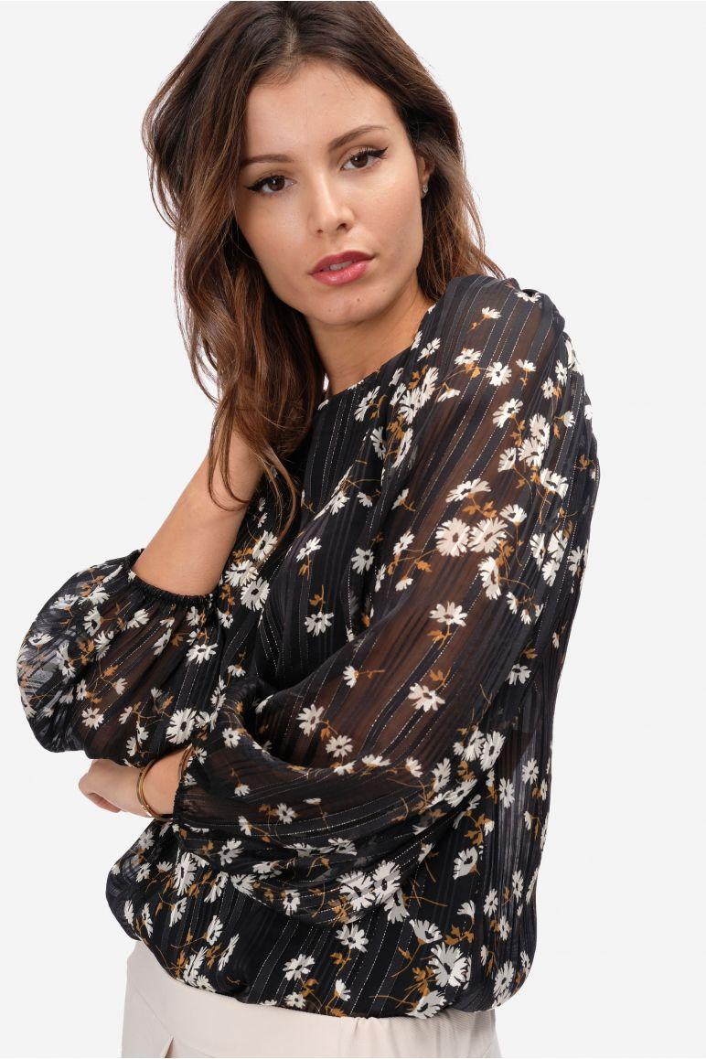 Blusa fantasia fiore lurex