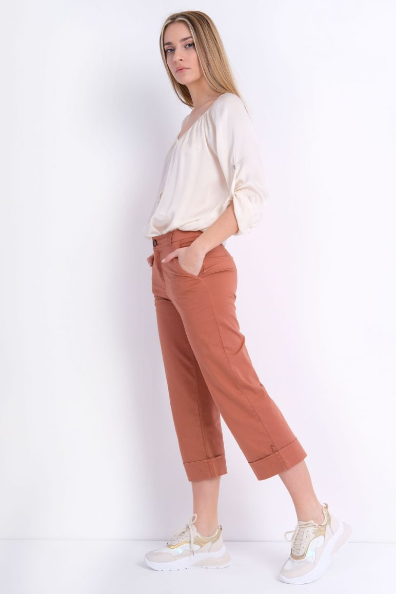 Pantalone cotone risvolto