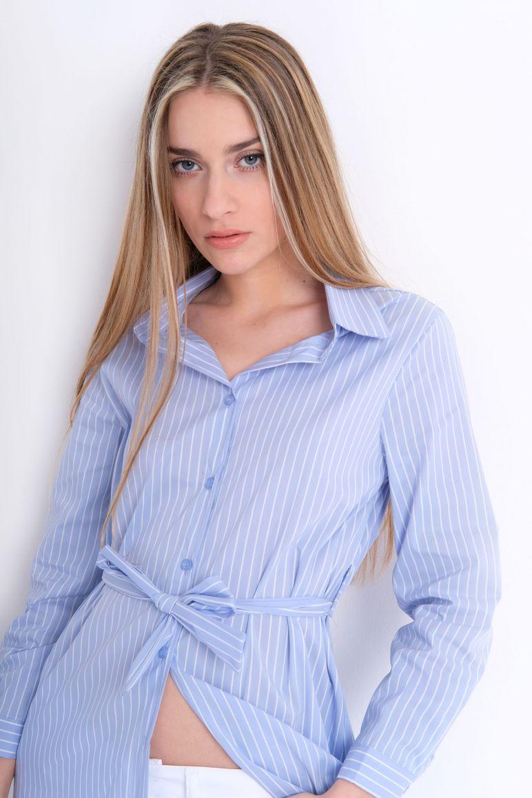 Camicia lunga popeline riga