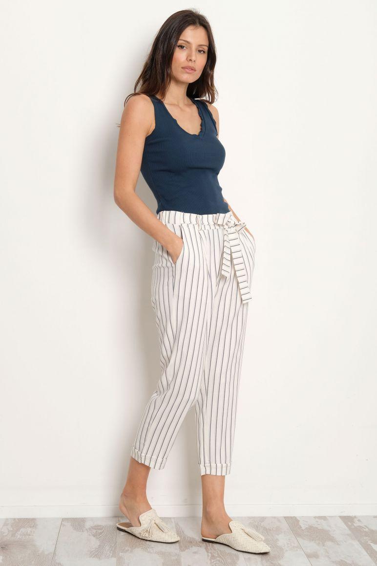 Pantalone fiocco righe