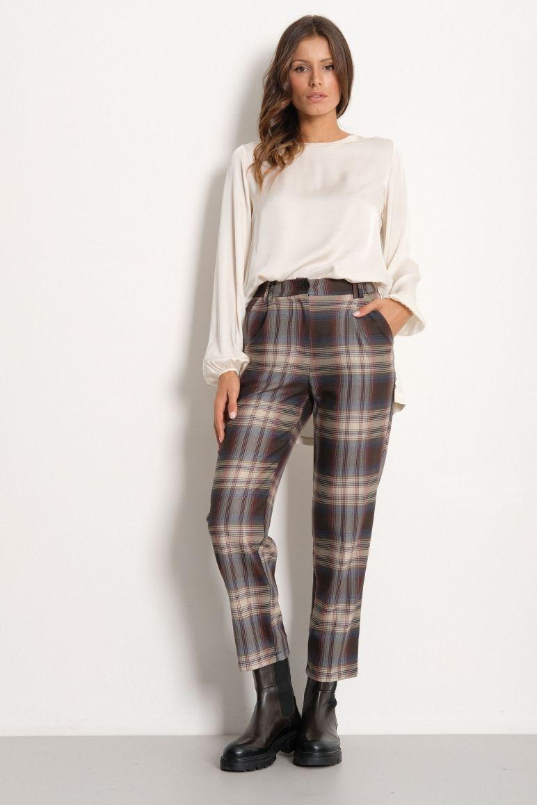 Pantalone vita alta quadri